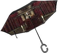 ゴシックパティオ傘中世の邪悪な女性神話傘C字型ハンドル、アンチUV防水スタイル08-42.5x31.5インチ(108cm x 80cm)