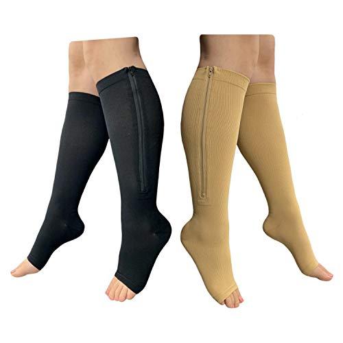 Compresión de alivio de grado médico Healthynees para pierna, pantorrilla, hinchazón circulación, calcetines de apoyo, combo de 2 pares con cierre, L/XL, 2