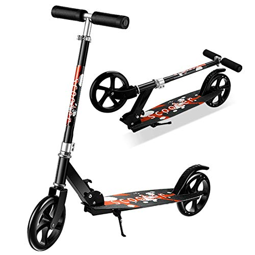Buy Bargain LXLA Black Adult Kick Scooter with Large Wheels, Folding Commuter Scooter for Teens Kids...