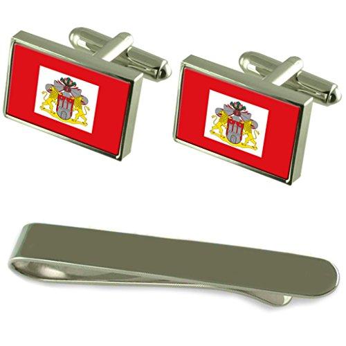 Freie und Hansestadt Hamburg Flagge Silber Manschettenknöpfe Krawatten Clip Box Set