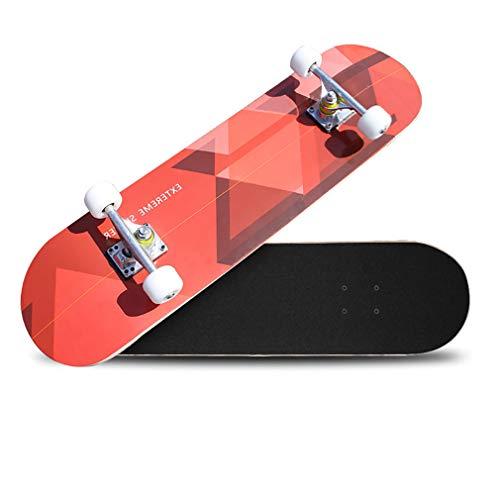 ZLQ Complete Skateboard, High-Elastische PU-Rad-Doppel-Kick-Trick Skateboard, Maple Deck, Profi Skateboard Für Jugendliche/Erwachsene,F