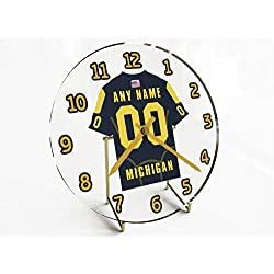 FanPlastic College Football USA - We're Number ONE American Football Desktop/Table Clocks - Support Your Team !!! (Michigan Wolverines)