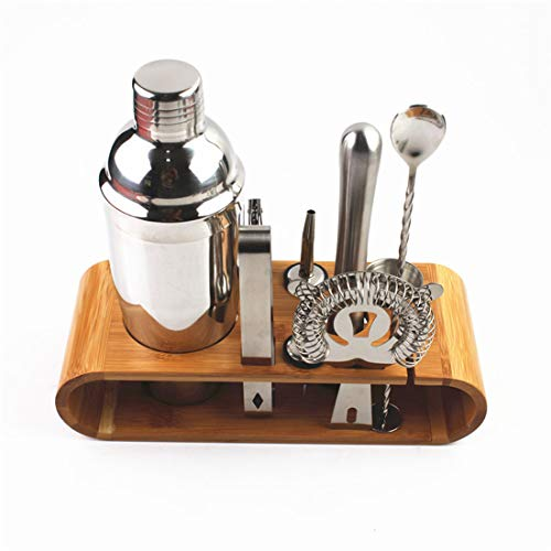 10Pcs Mixology Bartender Kit with Stand,550 ml Stainless Steel Cocktail Making Set,Beginners Best Bartender Kit,Perfect Home Bartending Kit Bar Tools For an Awesome Drink Mixing Experience