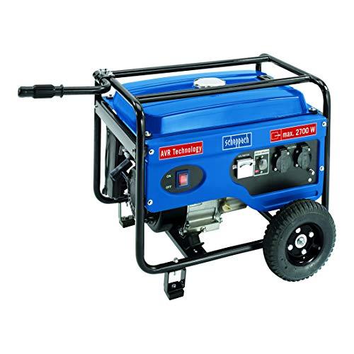 Scheppach 5906213901 Generator / Stromerzeuger SG3100, zuverlässige Stromversorgung egal ob Baustelle oder Camping, robuster Stahlrahmen schützt und dient dem Transport, 6,5 PS Motor, 2700 W, 230 V