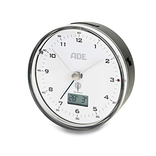 ADE CK 1808 Funkwecker analog, ABS Kunststoff, Schwarz weiß, 8.2 cm