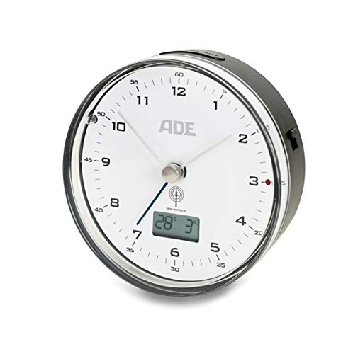 ADE Funkwecker CK 1808 (Geräuschloser Wecker ohne Ticken, analoge Zeitanzeige, Thermometer, Datum und Snooze-Funktion, 8,2 cm Durchmesser)