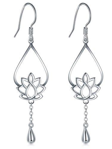 925 Sterling Silver Earrings, BoRuo Lotus Flower Yoga Earrings silver