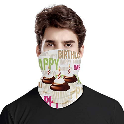 FULIYA Bandana Windproof Variety Head Scarf,Grunge Happy Birthday Pattern with Three Chocolate Cupcakes Candles,for Women Men