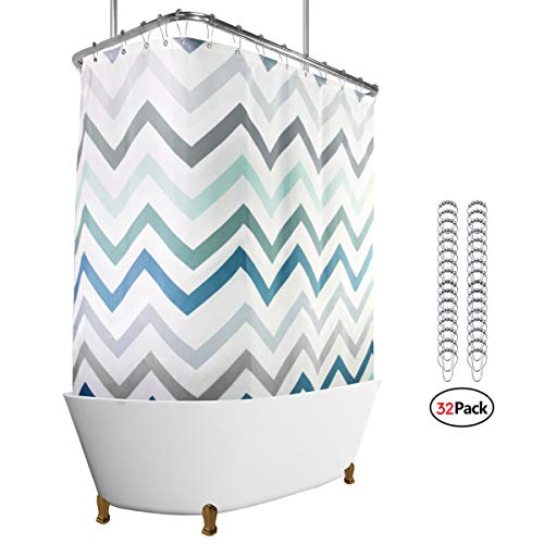 Riyidecor Clawfoot Tub Shower Curtain Panel 180x70 Inch  All Wrap Around Polyester Fabric Set Chevron Extra Wide Waterproof with 32-Pack Metal Shower Hooks