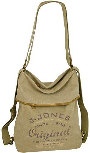 JJones Große Damen Rucksack Handtasche aus Leder und Canvas - eine Tasche Rucksack Kombination (Natur)