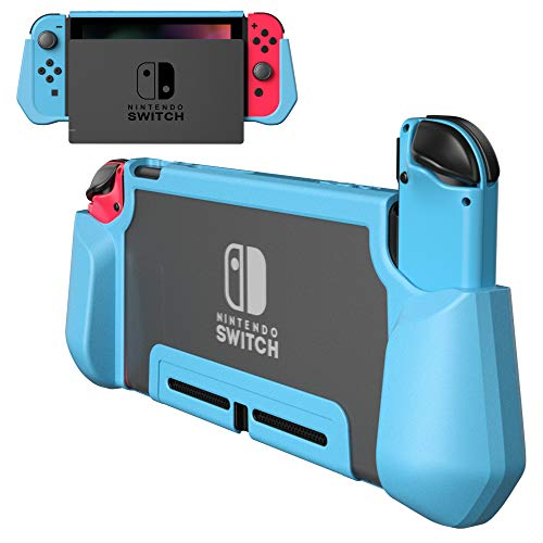 PZOZ Nintendo Switch用 ケース PC+TPU カバー ニンテンドー 指紋防止 落下防止 アンチスクラッチ 2017 任天堂 ジョイコン ドック Joy-Conに対応アクセサリー (ブルー)
