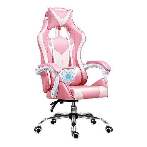 NCBH Gaming Racing Stuhl, Pu Leather Office Drehbarer Computer Schreibtischstuhl, Ergonomischer Konferenzstuhl Arbeitsstuhl, mit Lordosenstütze PC Gaming Schreibtischstuhl,Pink and White,Steel feet