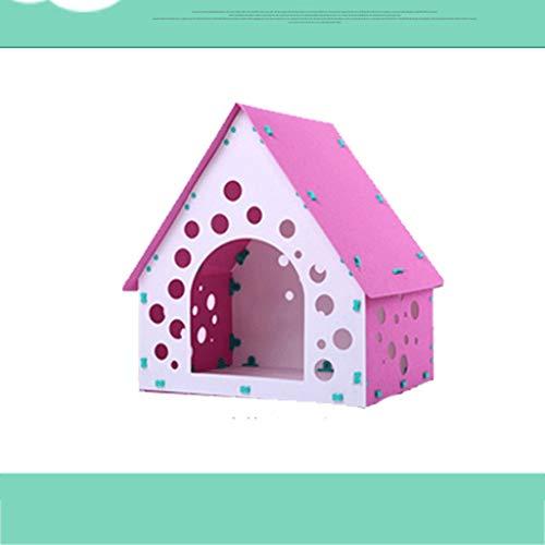 Qbylyf Nest huisdier-bed-wasbare meerkleurige hondenhuisdierkooi plastic PVC hondenhok