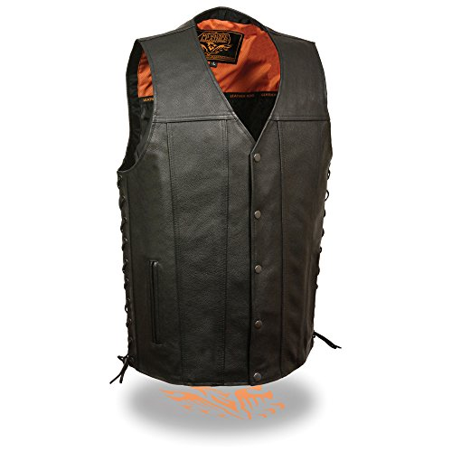 Milwaukee Leather Men's Straight Bottom Extra Long Side Lace Vest w/One Panel Back & Dual Inside Gun Pockets (XXX-Large)