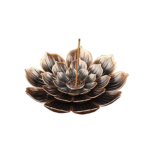SLKIJDHFB Incense Burner - Lotus Stick Incense Holder 5 Incense Holes with Detachable Ash Catcher