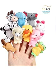 Mumoo Bear 10pcs Cute Plush Animal Finger Puppets Set Soft Plush Toys Doll For Baby Early Educational Toys Birthday Christmas Gifts