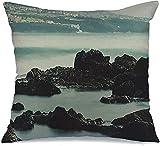 Throw Pillow Cover Funda de cojín, Cruz Tenerife Coast Ocean Teide Rocks Village Turismo Olas Tiempo de exposición Bahía Parques Naturales Funda de Almohada al Aire Libre