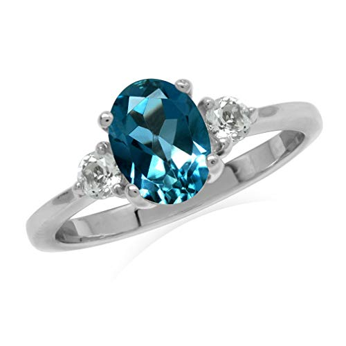 Silvershake 1.5ct. 8X6mm Genuine Oval Shape London Blue Topaz 925 Sterling Silver Engagement Ring Size 7