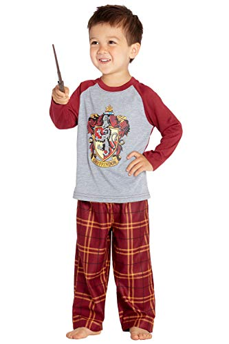 HARRY POTTER Boys' Raglan Shirt and Plaid Pajama Pants Set- All 4 Houses (Medium / 8, Gryffindor Scarlett)