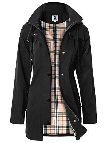 Women's Water-resistant Raincoat Outdoor Windbreaker (Black,XXL)