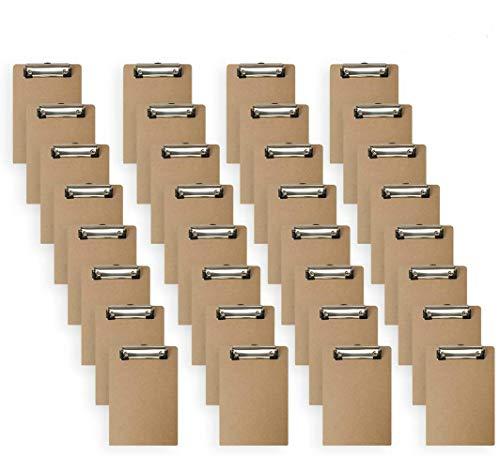 Mini Clipboard, 6 x 9 Inches Small Hardboard Clipboard, Pack of 32