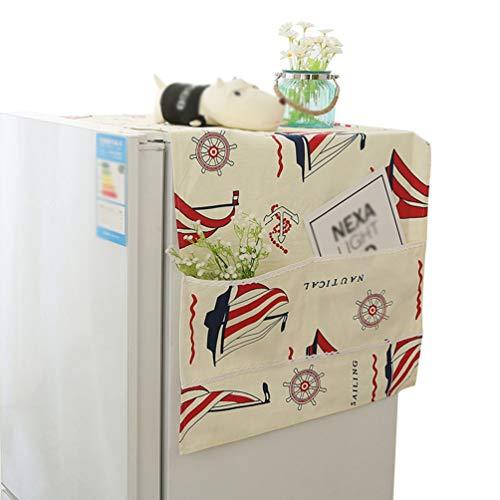 Liangzhu Multifunktion Waschmaschinen Staubschutz mit Aufbewahrungstasche Kühlschrank Staubdicht Abdeckung Gedruckt Mikrowelle Abdeckung (Rot, 60 * 150 cm)