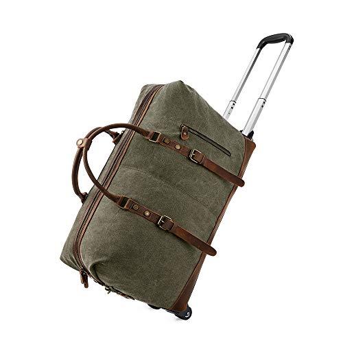 Kattee Rolling Travel LuggageDuffel Bag, 2 Drop Bottom Wheeled, Leather + Canvas, 50L (Army Green)