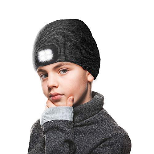 ANBET Kinder Strickmütze mit LED-Lampe Warm halten, dimmbar, wiederaufladbare USB-Scheinwerfer Großes Geschenk für Jungen und Mädchen