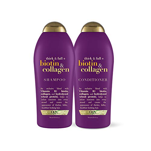 OGX Thick & Full + Biotin & Collagen Extra Strength Volumizing Conditioner with Vitamin B7 & Hydrolyzed Wheat Protein for Fine Hair, 25.4 oz Pack of 2