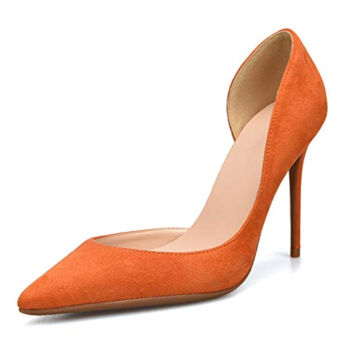 Lydee Basic Damen Wildleder Pumps Stiletto Heels Büro Dress Schuhe Spitze Cocktail Heels Evening Party Schuhe Orange Size 45