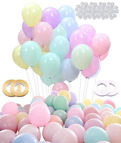 Xinmeng Globos Pastel | Color Globos | 10 Pulgada Macaron Latex Balloons para Fiestas, Graduaciones, cumpleaños, Bodas, Baby Shower, Día de San Valentín, Decoraciones (100 Piezas)