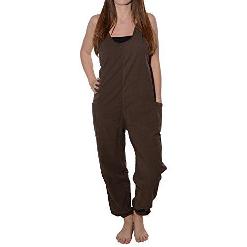 KUNST UND MAGIE Alternative Sommer Latzhose Unifarben, Größe:S/M, Farbe:Braun