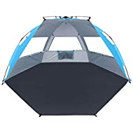Large Size Easy Up Beach Tent, Odoland Anti-UV UPF 50+ Shelter, Instant Pop Up Beach Umbrella Tent Sun Sport Shelter for Beach, Party, Picnics, Backyard BBQs and Other Outdoor Recreations