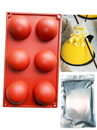 Food Silicone Large Sphere Ball Molds 6 Half 26 inch Semi Circle Holes Thick Chocolate Silicone Molds For CakeDesserts115g