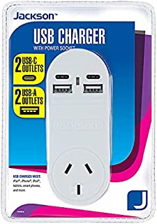 Jackson 2 USB & 2 USBC Charger with Mains Outlet, (PT4USB3C)