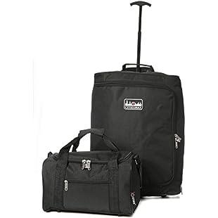 Ryanair Maximum Hand Luggage Set - 55x40x20cm Trolley Bag + 35x20x20cm 2nd Cabin Holdall Bag - Pack the Max & take both on Board! (Black):Kumagai-yutaka