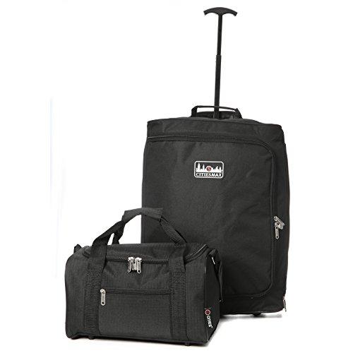 Ryanair Hand Luggage Set - 55x40x20cm Trolley Bag + 35x20x20cm 2nd Cabin Holdall Bag - Take Both on Board!