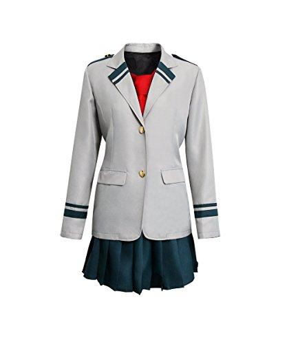 NUWIND My Hero Academia Uniforme Chica Estudiante Traje Boku Uniforme Escolar Japones Cosplay Costume Izuku Ochako Tsuyu Blazer Chaqueta Gris con Falda y Corbata roja (XXL)