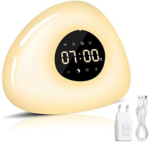 Lichtwecker Tageslichtwecker Wake Up Light RGB Nachttischlampe dimmbar,Wecker Licht mit Sonnenaufgang Sonnenuntergang Simulation,Wake Up Licht Lichtwecker,Snooze Funktion, 10 Wecktöne