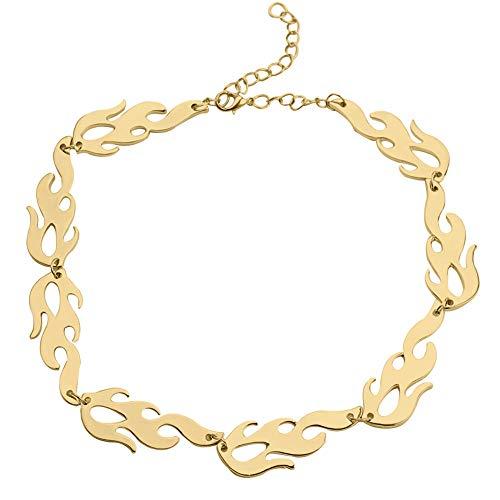 Collar Colgante Joyería Harajuku Hip-Hop Flame Gold & Black Clavicle Necklace Street Rock Hombres Mujeres Gargantilla Joyería De Cadena Corta Fashion Chain-2