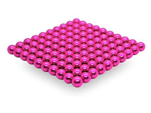 movmagx Magnetkugeln 5mm [ 100 Stück - Pink ] inkl. Samtbeutel & Trennkarte - Starke Magnete für Pinnwand, Magnettafel, Whiteboard, Kühlschrank