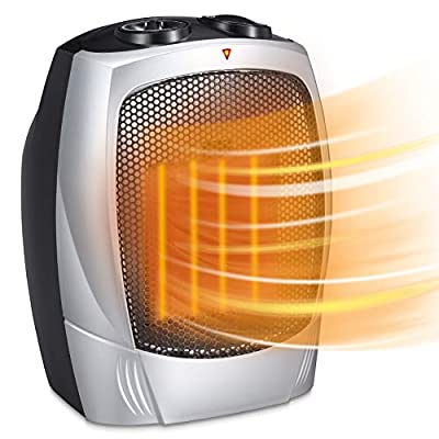 Electric Space Heater for Indoor Use - 1500W Space Heaters for Home, Ceramic Space Heater for Office with Adjustable Thermostat Overheat Protection and Carrying Handle ETL Listed, 750W/1500W (Silver)