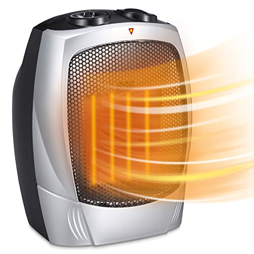 Electric Space Heater for Indoor Use - 1500W Space Heaters for Bedroom, Ceramic Space Heater for Office with Adjustable Thermostat Overheat Protection and Carrying Handle ETL Listed, 750W/1500W (Silver)