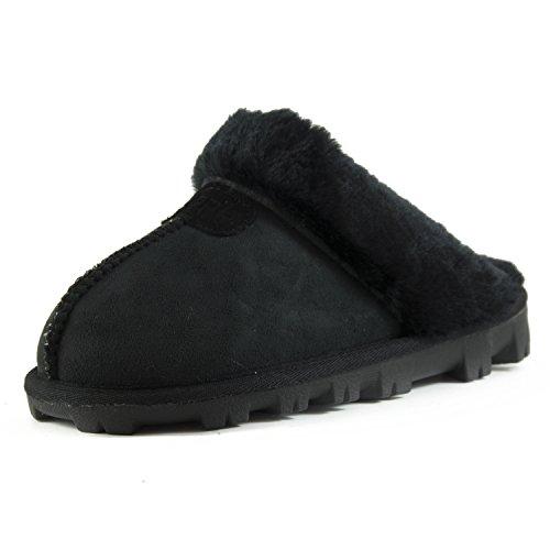 CLPP'LI Womens Slip on Faux Fur Warm Winter Mules Fluffy Suede Comfy Slippers-Black-6