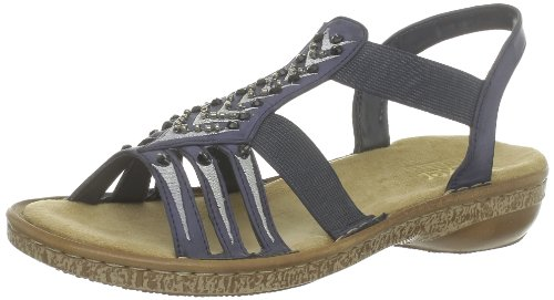 Rieker Damen 62861 Offene Sandalen mit Keilabsatz, 14, 39 EU