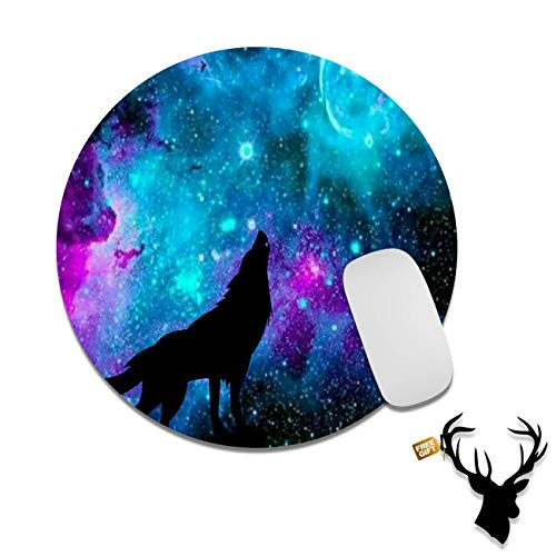 Gaming Mouse Pad Mat Blue Galaxy Wolf Mousepads with Cute Stickers Non-Slip Rubber Base Round Mouse Pads for Laptop Compute Working Home Office Accessories