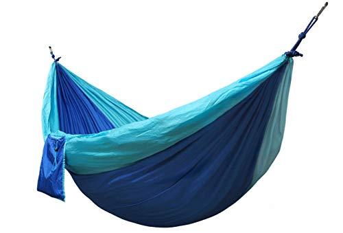 Kronenburg Hamac parachute ultra léger en nylon 275 x 140 cm, charge maximale 300 kg - Certifié TÜV avec 2 mousquetons et 2 cordes Bleu/bleu clair