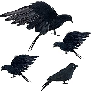 iceyyyy 4-pack realistic black feathered crow bird – 13″ halloween artificial handmade feathered crows and 6″ halloween lifelike raven for halloween costume decor party outdoor indoor decoration silk flower arrangements