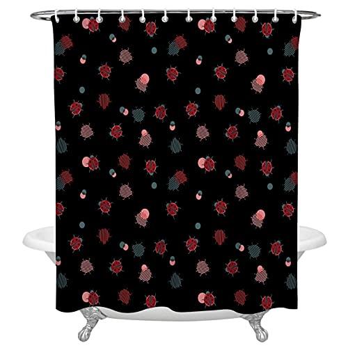 Ladybug - Cortina de ducha de tela de poliéster decorativa impermeable con ganchos para el hogar, decoración de baño, 180 x 180 cm