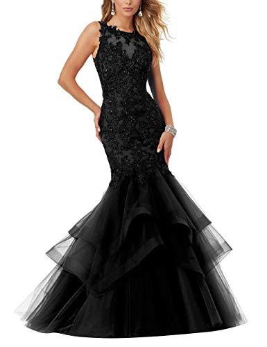 HUINI Abendkleider Vintag Meerjungfrau Brautkleider Spitzen Prinzessin Ballkleider Hochzeitskleider Standesamtkleid Schwarz 32
